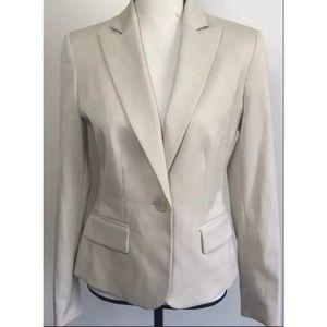 Anne Klein Tan Khaki Fitted Stretch Blazer Jacket